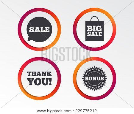 Sale Speech Bubble Icon. Thank You Symbol. Bonus Star Circle Sign. Big Sale Shopping Bag. Infographi