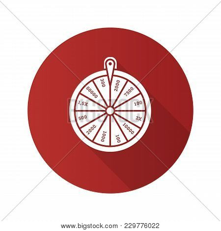 Wheel Of Fortune Flat Design Long Shadow Glyph Icon. Roulette. Lucky Wheel. Vector Silhouette Illust