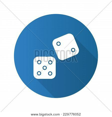 Dice Flat Design Long Shadow Glyph Icon. Gambling. Vector Silhouette Illustration