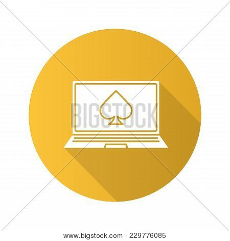 Online Casino Flat Design Long Shadow Glyph Icon. Laptop Display With Spade Card Suit. Vector Silhou