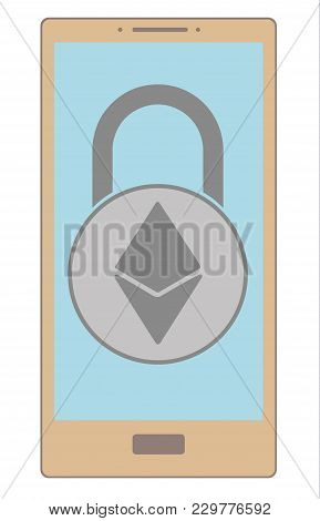 Electronic Security Lock Of Ethereum In A Phone ,vector Icon,color Concept , Vector Disign.