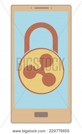 Electronic Security Lock Of Ripple In A Phone ,vector Icon,color Concept , Vector Disign.