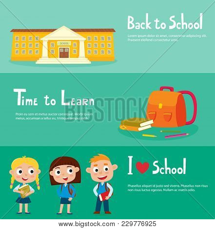 School Horizontal Banner Set With School Building, Isolated School Supplies, Happy Pupils - Boy And