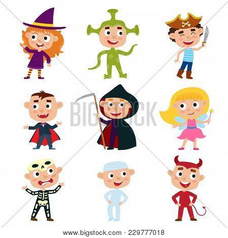 Vector Set Of Children In Halloween Costumes - Pirate, Devil, Witch, Alien, Vampire, Fairy, Mummy, S