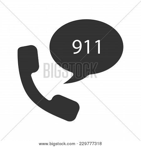 Emergency Calling Service Glyph Icon. Handset And Speech Bubble With 911 Number Inside. Silhouette S