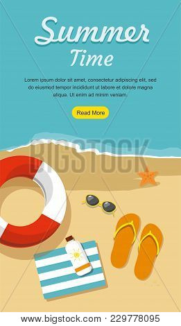 Summer Vacation And Tourism Web Banner. Flip- Flops In The Sand With Towel, Sun Glasses And Others