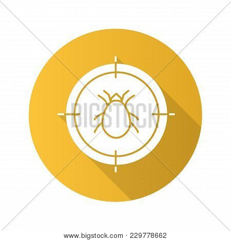 Mite Target Flat Design Long Shadow Glyph Icon. Parasitic Insects Repellent. Vector Silhouette Illus