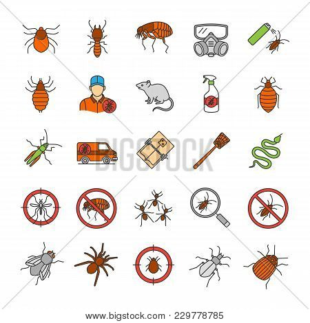 Pest Control Color Icons Set. Extermination. Harmful Animals And Insects. Isolated Vector Illustrati