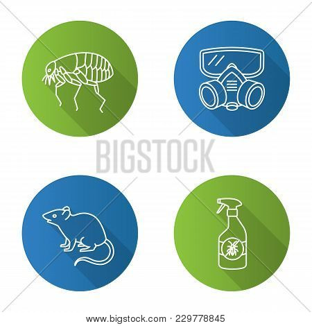 Pest Control Flat Linear Long Shadow Icons Set. Insects Repellent, Flea, Respirator, Rodent. Vector