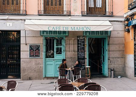 Madrid, Spain - November 3, 2017: Dos De Mayo Square In Malasana District In Madrid. Malasana Is One