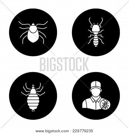 Pest Control Glyph Icons Set. Mite, Termite, Louse, Exterminator. Vector White Silhouettes Illustrat
