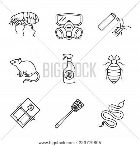 Pest Control Linear Icons Set. Flea, Respirator, Cockroach Repellent, Mouse Trap, Rodent, Bed Bug, S