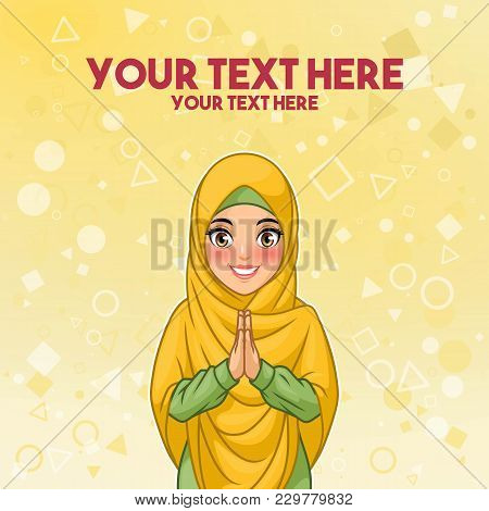 Young Muslim Woman Wearing Hijab Veil Smiling Greeting With Welcoming Gesture Hands Put Together, Ca