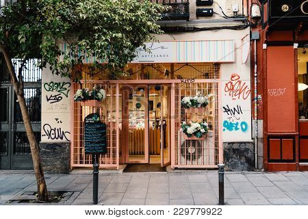 Madrid, Spain - November 3, 2017: Storefront Malasana District In Madrid. Malasana Is One Of The Tre