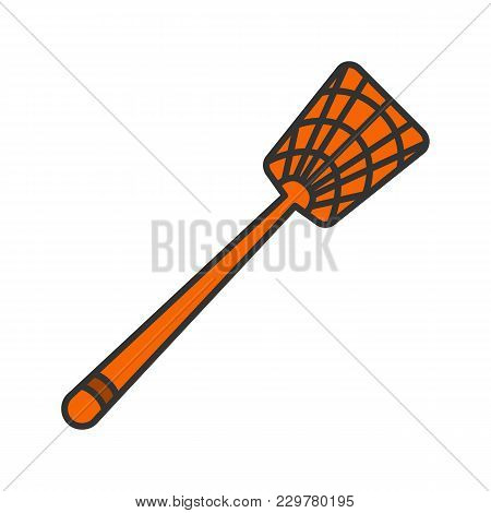 Fly-swatter Color Icon. Houseflies, Wasps, Moths, Gnats Killing Device. Isolated Vector Illustration