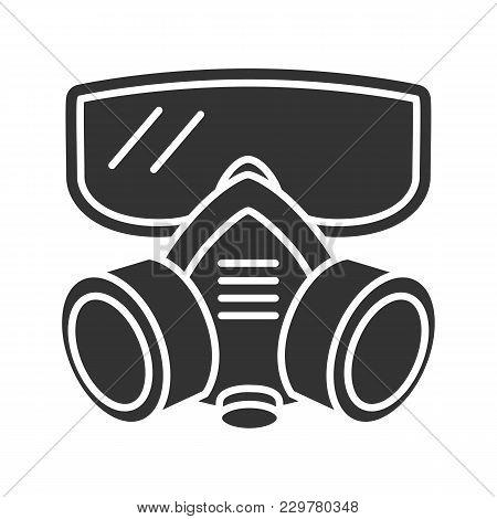 Respirator Glyph Icon. Gas Mask. Pest Control Equipment. Silhouette Symbol. Negative Space. Vector I