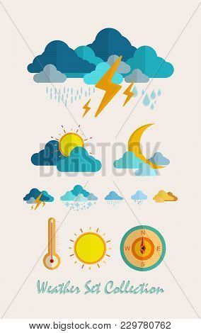 Vector Illustration Meteorology Weather Flat Set Icon