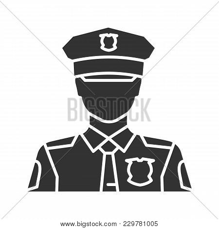Policeman Glyph Icon. Police Officer. Silhouette Symbol. Negative Space. Vector Isolated Illustratio