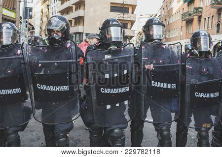 Milan, Italy - February 24: Riot Policemen Confront The Activists During An Anti-fascist March In Th