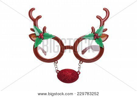 Glasses With The Horns Of A Deer Isolated On White Background.