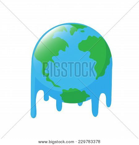 Planet Earth Melting Icon Design. Stop Global Warming Concept. Illustration Isolated On White Backgr
