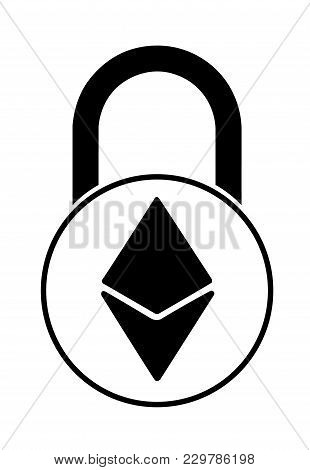 Electronic Security Lock Of Ethereum ,vector Icon. Black And White Concept  Vector Disign.