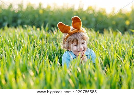 Cute Little Kid Boy With Bunny Ears Having Fun With Traditional Easter Eggs Hunt On Warm Sunny Day,