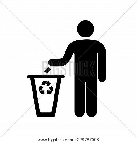 A Sign Of A Man Throwing Garbage In The Urn. Vector Illustration.