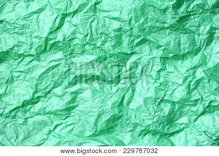 Green Paper Toss Background, Copy Space To Insert Text
