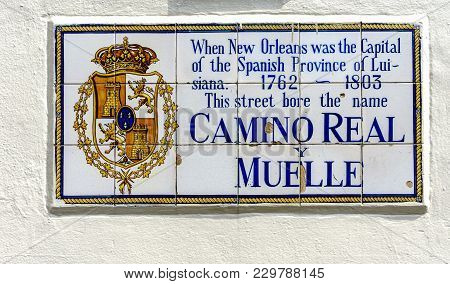 New Orleans, Usa - Aug 20, 2017: This Prominent Street Name In The French Quarter Was Originally Cam