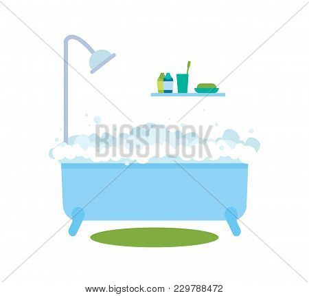 Bath With Bubbles And Hot Water, Bath Time And Healthcare, Hygiene And Products, Soap And Toothbrush