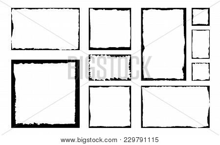 Set Of Grunge Square Frames. Empty Border Background. Hand Draws Black And White Ink. Distress Damag