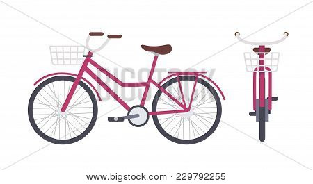 Elegant Pink City Bike Or Urban Bicycle With Step-through Frame And Front Basket Isolated On White B