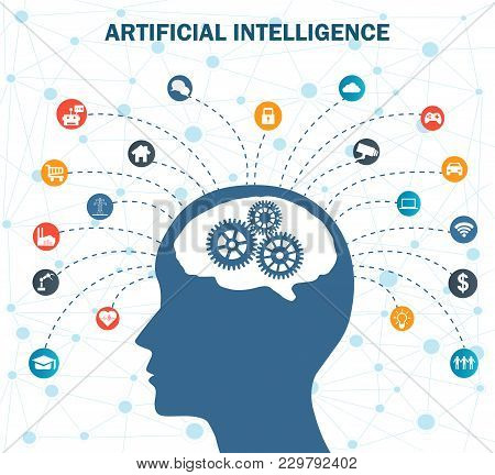 Concept Of Artificial Intelligence With Gears On Human Head. Networks Design Concep With Icons On Ba