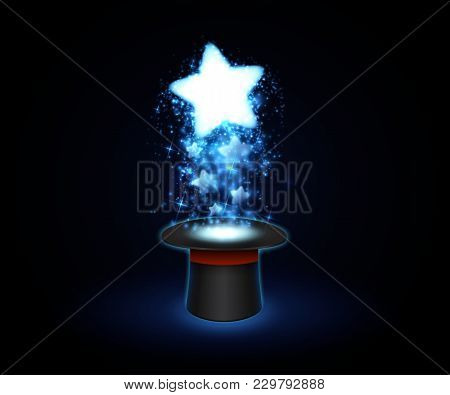 Magic Sparkles Flying From Hat. Vector Background
