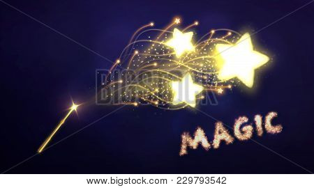 Illustration Of Golden Magic Wand, With Light Star Effect. Vector Digital Graphic For Brochure, Webs