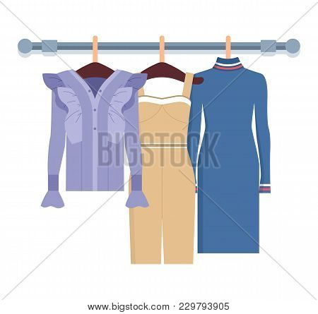 Summer Mode With Dress And Jackets On Hangers, Collection Of Clothes For Women, Items And Objects, V