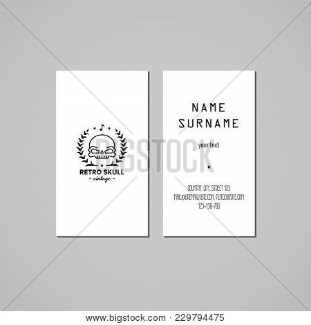 Business Card Hipster Style With Skull Logo And Wreath (vector). Vintage Design.
