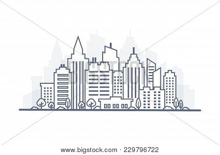 Thin Line City Landscape. Downtown Landscape With High Skyscrapers. Panorama Architecture City Lands