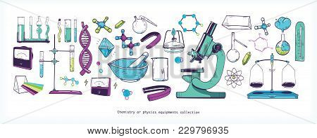 Set Of Chemistry And Physics Laboratory Equipment And Tools Isolated On White Background - Microscop