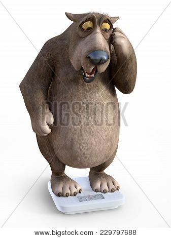 3d Rendering Of A Charming Cartoon Bear Looking Shocked When Weighing Himself On A Scale. White Back