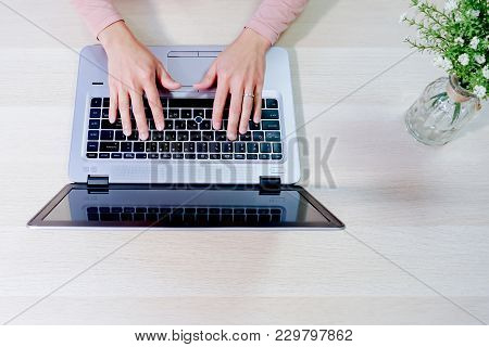 Focus On Woman Hand Using Laptop, Searching, Checking, Browsing Information