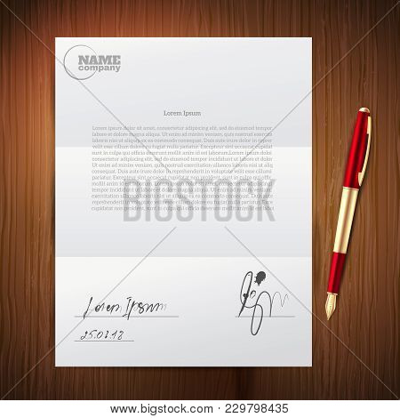 Realistic And Colored Business Pen Paper Composition With Ballpoint Pen Signature On Important Docum