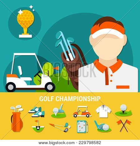 Golf Championship Concept With Sports Equipment Icons On Yellow Background, Playful Field For Tourna