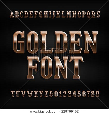 Vintage Gold Alphabet Font. Ornate Golden Letters And Numbers. Stock Vector Typeface For Your Design