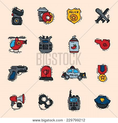 Police Icons Vector Policy Signs Of Policeman Or Policeofficer And Badges Of Policestation Illustrat