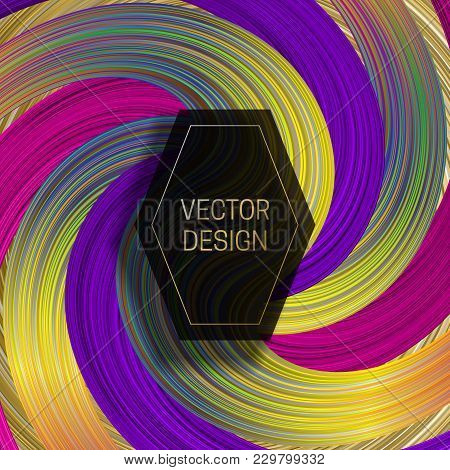 Hexagonal Frame On Saturated Colorful Background. Trendy Holographic Packaging Design Or Cover Templ