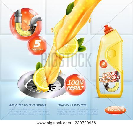 Drain Cleaner Ad Poster Including Detergent With Lemon, Flushing Of Pipe On Tiled Light Background V