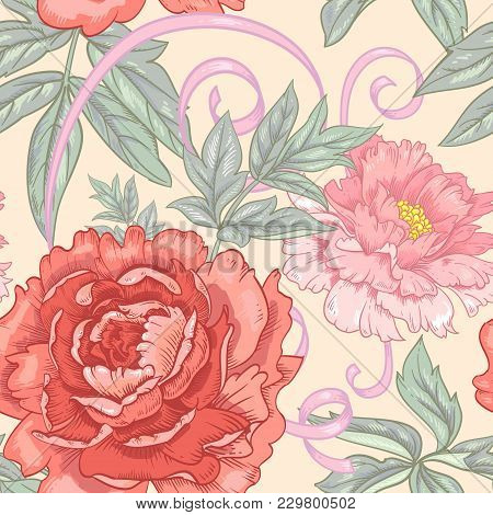 Vector Background With The Image Of Garden Flowers Peony, Roses, Ornamental Grasses, Berries. Seamle