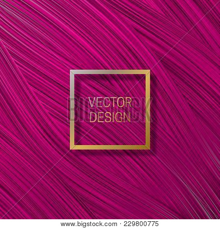 Square Frame On Saturated Pink Background. Trendy Packaging Design Or Cover Template.